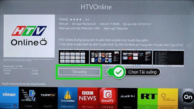 Chọn biểu tượng HTV Online > Chọn Tải xuống.